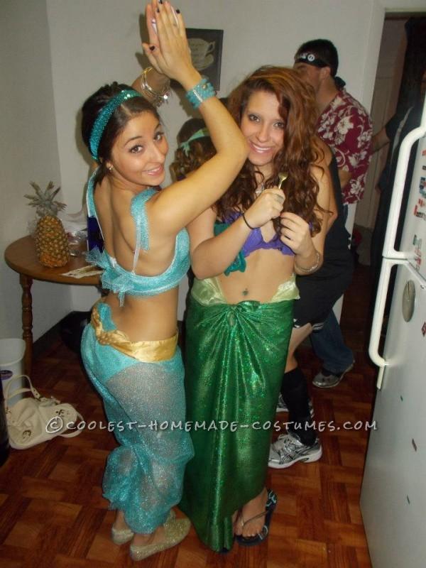 Homemade Jasmine and Ariel Halloween Costumes