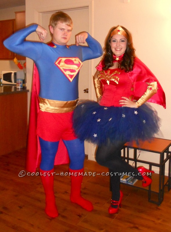 Coolest Homemade Superman and Wonder Woman Couples Halloween Costume