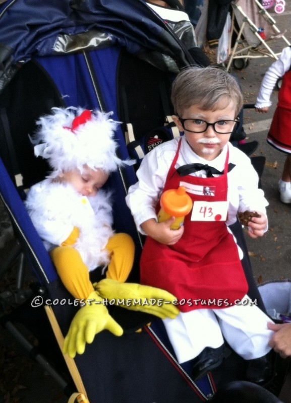 Cute Homemade Colonial Sanders and Chicken Children Costume