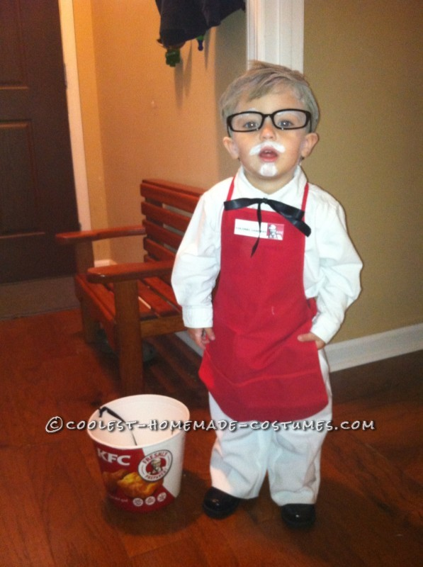 Cute Homemade Colonial Sanders and Chicken Children Costume - 1