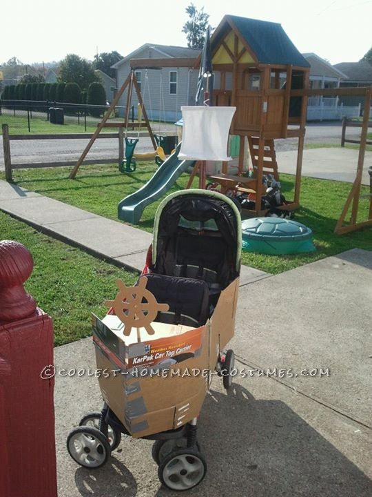 Homemade Pirate Ship Stroller and Pirate Costumes