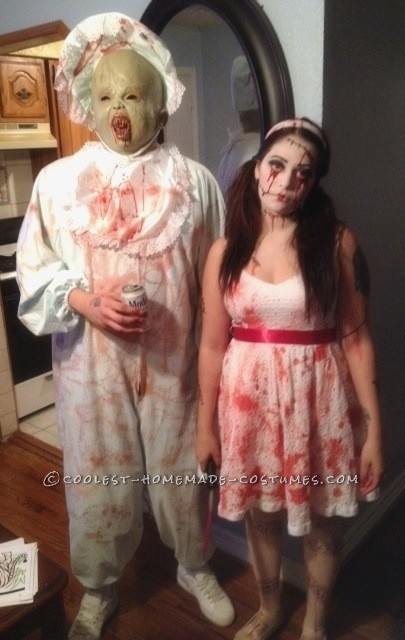 Halloween Costumes For Couples And Baby.Evil Doll And Her Evil Baby Spooky Couples Halloween Costume