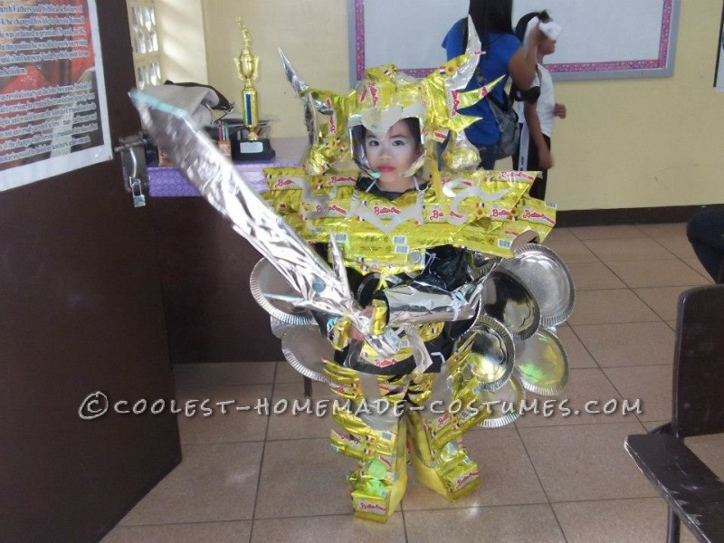 Warrior Halloween Costume 100% Recycled made of Cardboard, Wrappers and Paper Plates