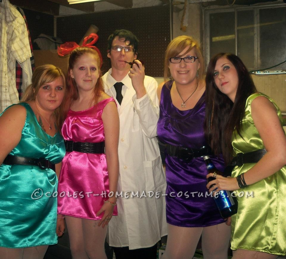 Friend Group Halloween Costumes Kids.Easy Powerpuff Girls And Professor Group Halloween Costume