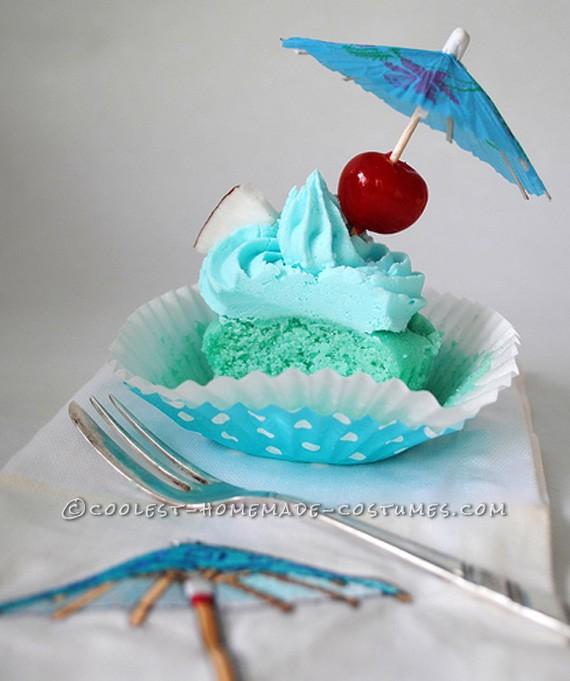 Homemade Blue Hawaiian Cupcake Costume