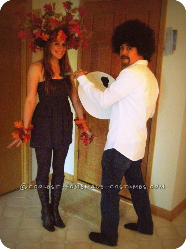Coolest Bob Ross and Happy Little Tree DIY Couples Costume - 1