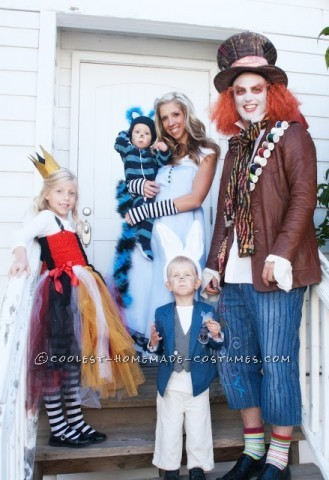 Coolest Homemade Wonderland Family Costume Alice Cheshire Cat Queen Of Hearts White Rabbit And Mad Hatter Costumes