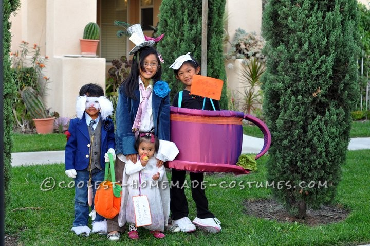 Cutest Mad Hatter Tea Party Family Homemade Costume Idea