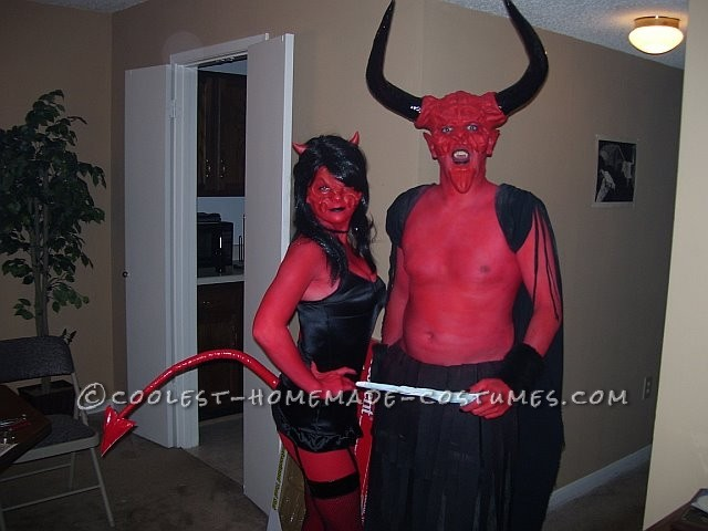 Homemade Devil Couple Costume Based on Legend