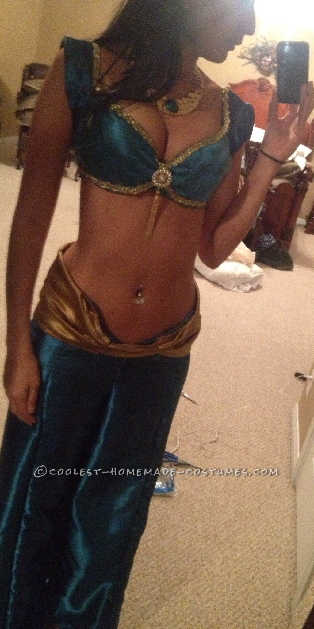 Dramatic Disney Jasmine Homemade Costume for a Woman