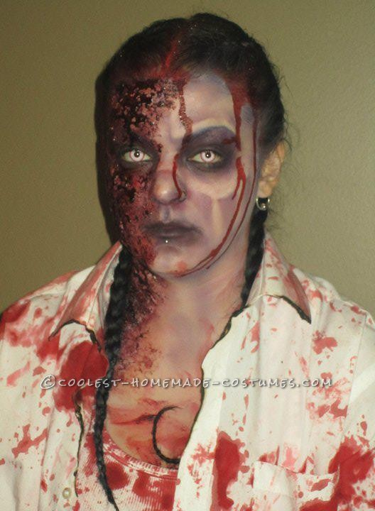 Horrifying DIY Fire(wo)man Zombie Costumes for a Couple - 9
