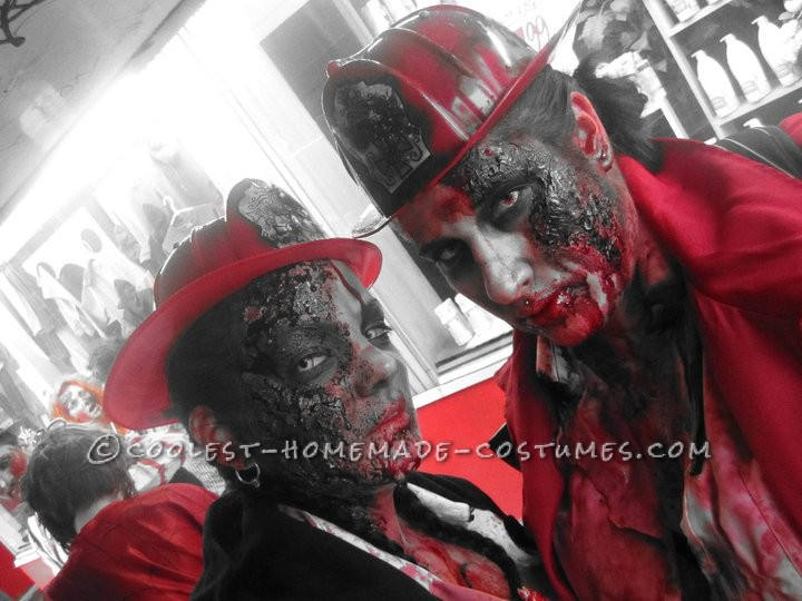 Horrifying DIY Fire(wo)man Zombie Costumes for a Couple - 1