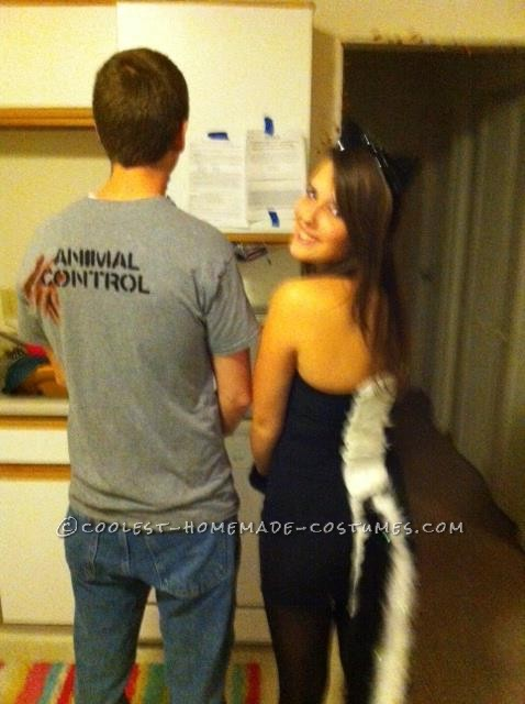 homemade skunk costume and homemade animal control shirt