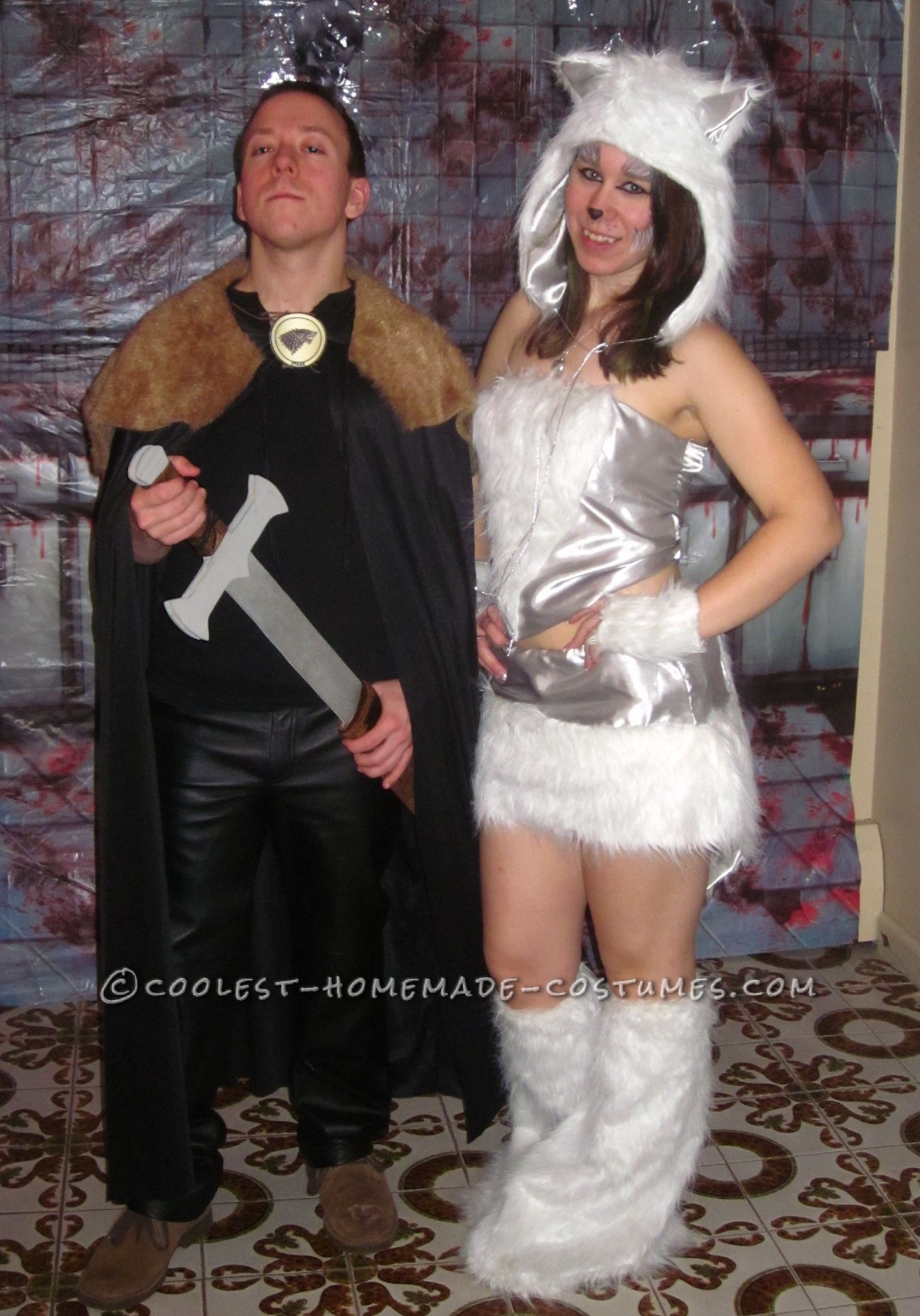 Cool Jon Snow and Ghost Homemade Couple Costume