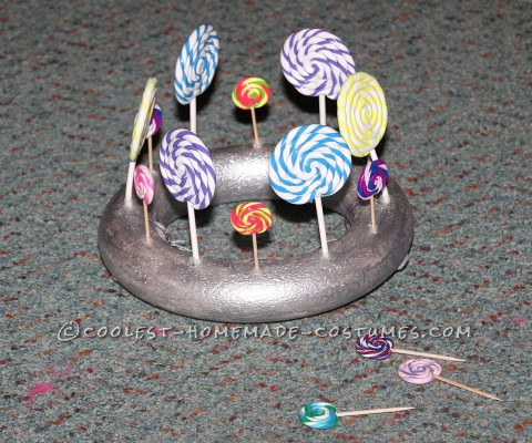 Clay Lollipops Glued into Foam Ring for Crown