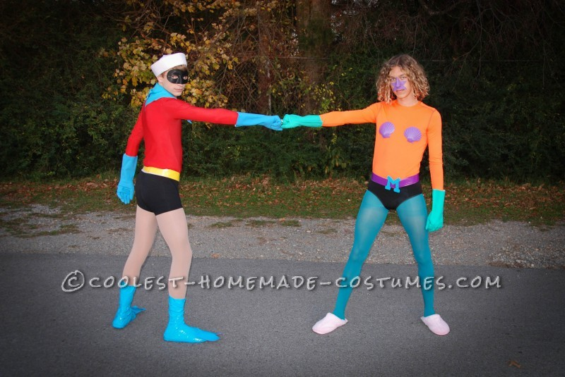Funny Homemade Couple Costume: Mermaid Man and Barnacle Boy Unite! - 1