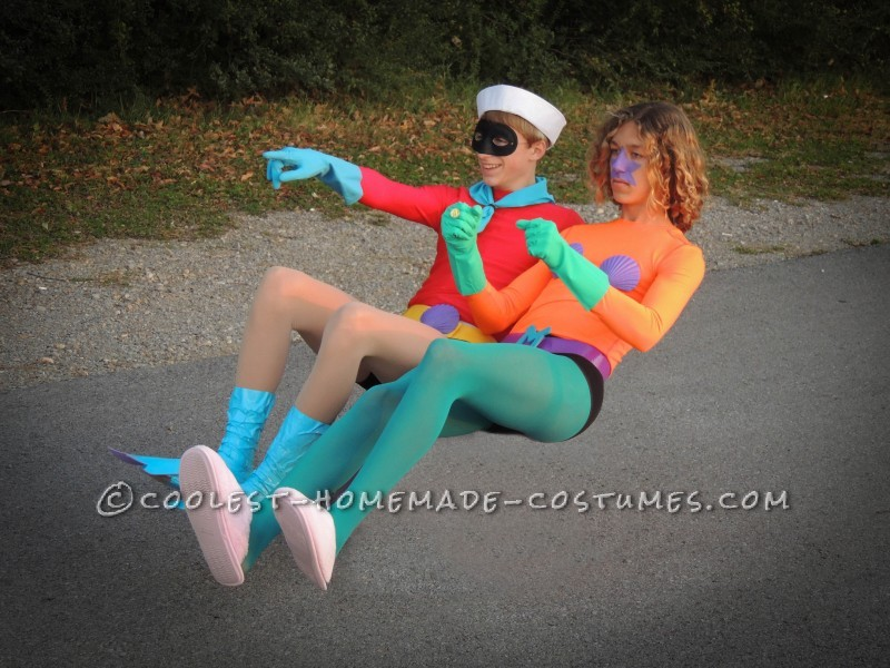 Funny Homemade Couple Costume: Mermaid Man and Barnacle Boy Unite! - 2