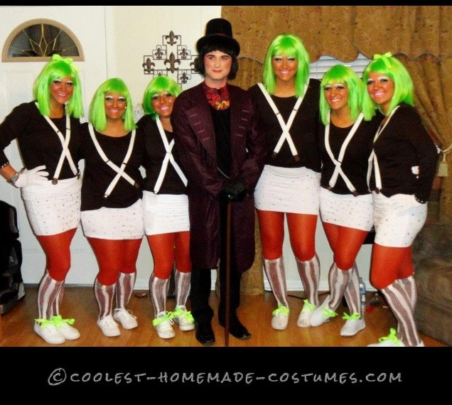 Oompa Loompas and Willy Wonka Homemade Group Costume