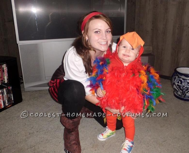 Coolest Homemade Puffy Parrot Costume for a Toddler