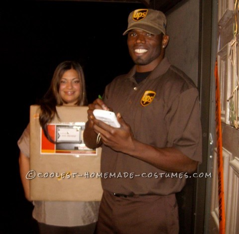 Simple and Creative Couples Costume: UPS Guy and His Package