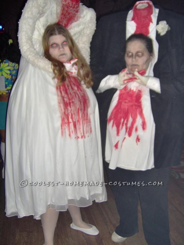 Headless bride and groom