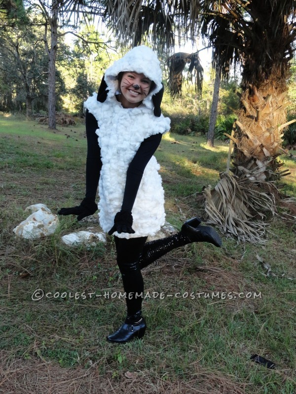 Unique Woman Costume Idea: Homemade Sheep Costume for Under $20!