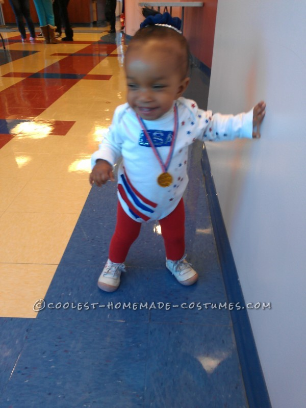 Last-Minute DIY Toddler Costume: USA Olympic Gold Medalist Gymnast Gabby Douglas - 1