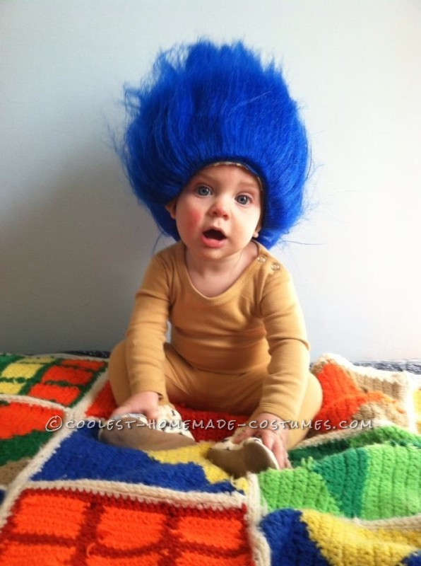 Two-Step Last Minute Halloween Troll Costume for a Baby Boy