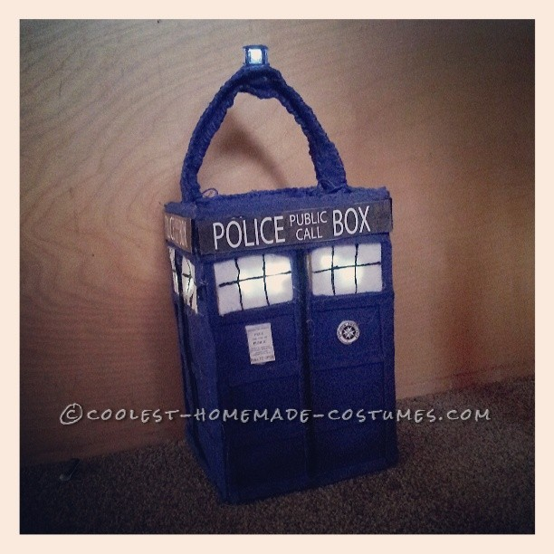 Close up of homemade Tardis candybag with working light and sound