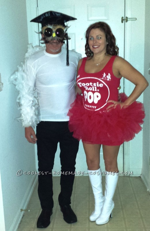 Cool Homemade Couple Costume Idea: Mr. Owl and Tootsie Pop
