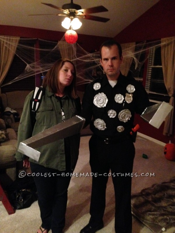 Best Terminator Couple Costume: T-1000 as he Chases John Connor out of the Mental Hospital