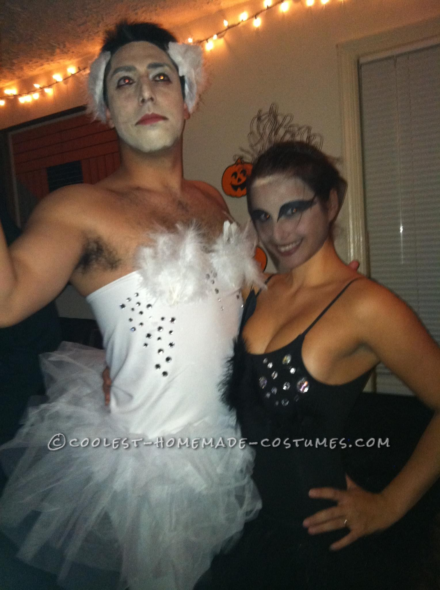 Funny Halloween Couple's Costume Idea: Black and White Swans