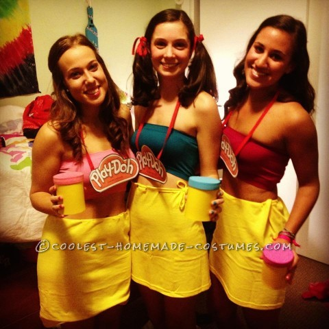 Easy and Cute Last-Minute Play-Doh Costumes for a Group of Girls