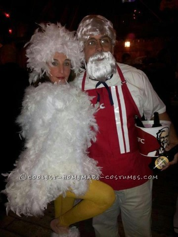 Cool Homemade Couple Costume Idea: Colonel Sanders (KFC) and a Chicken