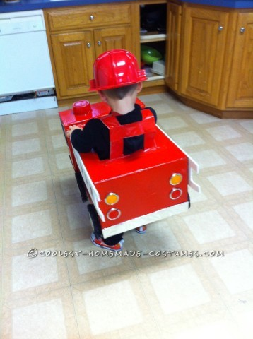 Coolest Homemade Firetruck Costume for a Toddler