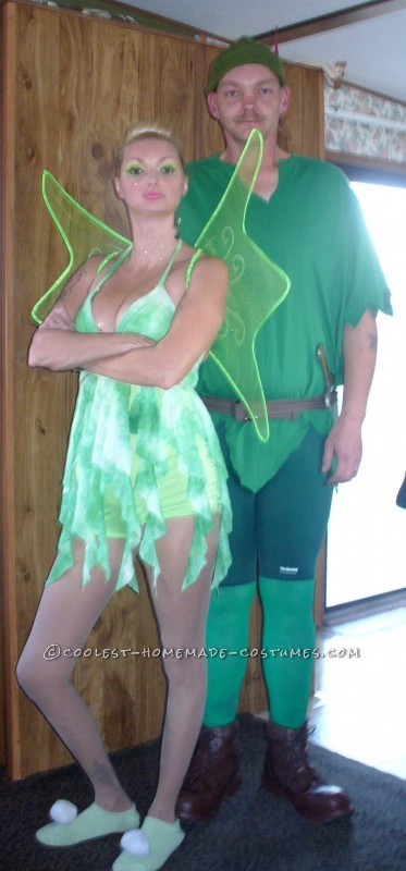 Coolest Peter Pan and Tinker Bell Homemade Couple Costume - 2