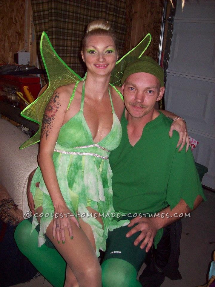 Coolest Peter Pan and Tinker Bell Homemade Couple Costume