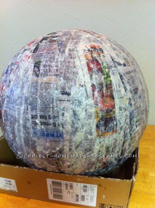Paper Mache' a medicine ball and plan on several days drying time