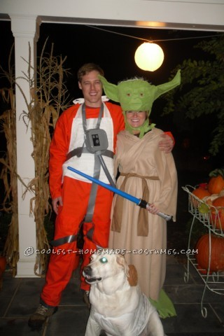 Coolest Homemade Yoda and Rebel Pilot Couple Costume