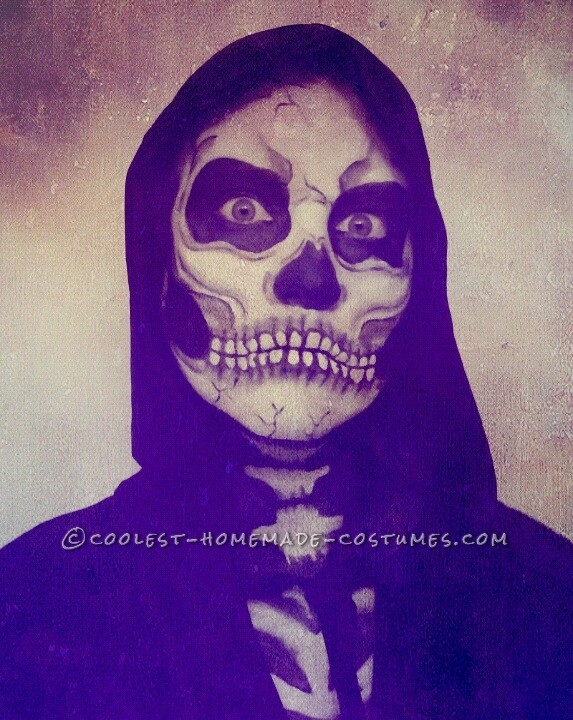 Creepy Skeleton Costume and Makeup