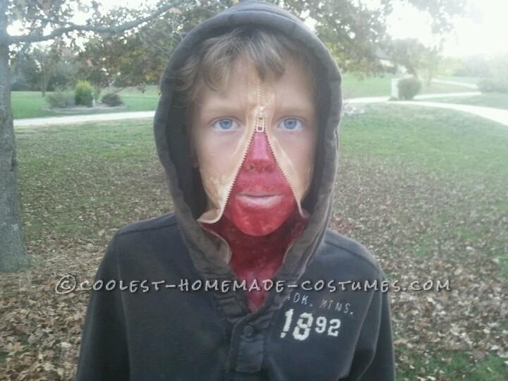 Creepy Zipper Face Halloween Costume for a Boy