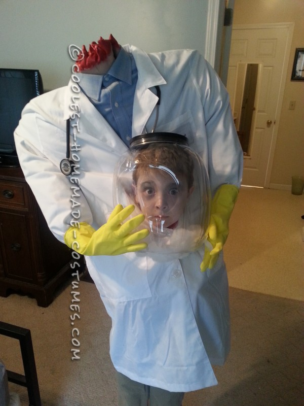Cool Illusion Costume Idea for a Boy: Doctor with his Head in a Jar!