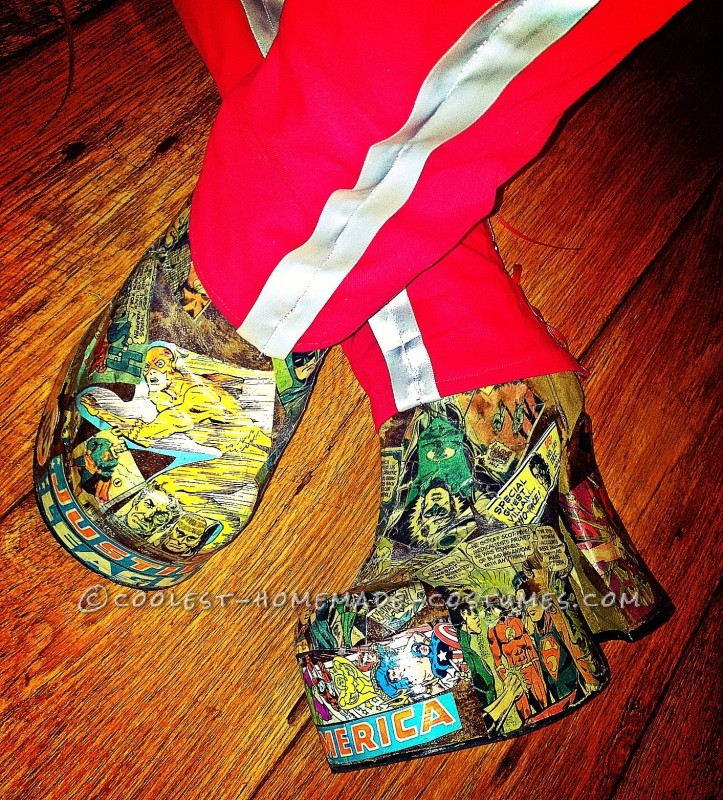 Easy to sew boot cover and amazing mod-podged  good will boots