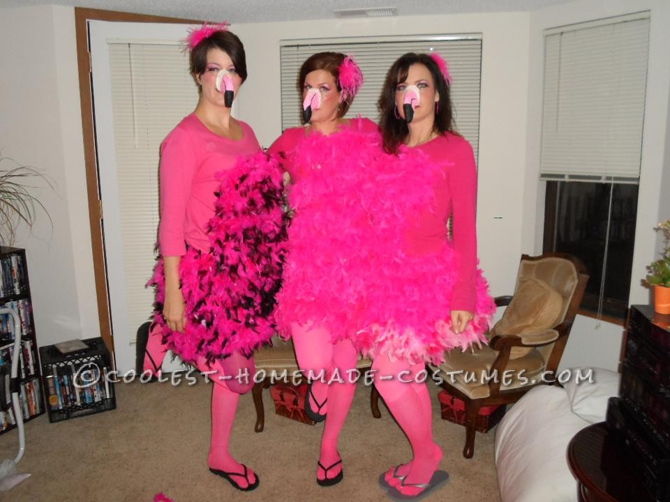 Great All-Girl Group Costume Idea: Pink Flamingo Yard Ornaments