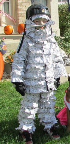 Cool Homemade Geico Money Man Halloween Costume for a Child