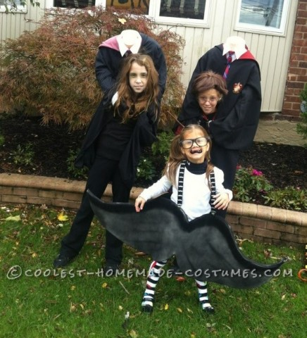 Headless DIY Harry Potter and Hermione Costumes (and a Little Mustache)