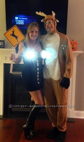 Cool Homemade Couple Costume Idea: Deer in Headlights