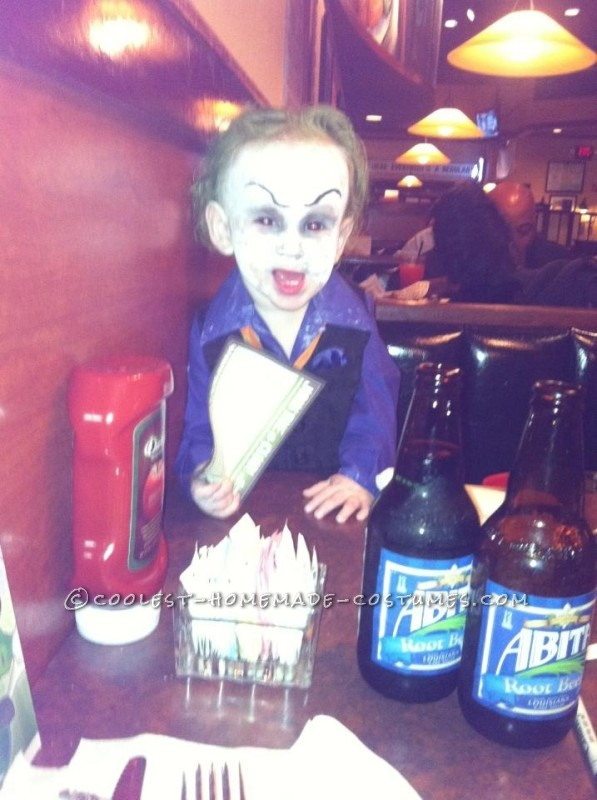 Homemade baby joker costume
