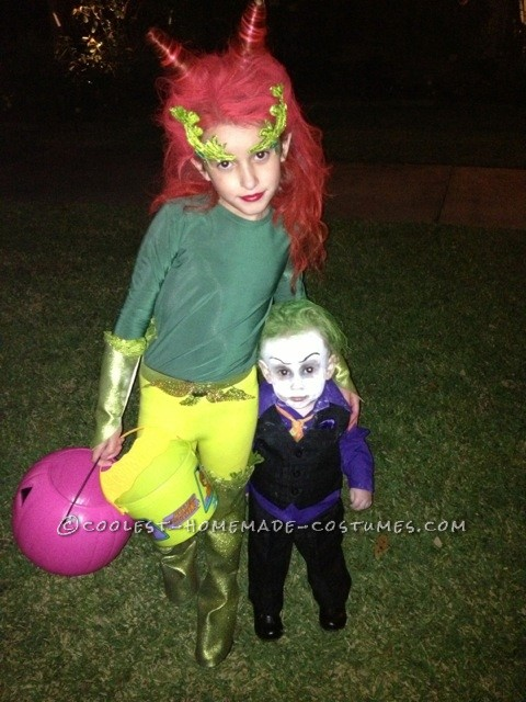 Old school poison ivy and baby joker costume
