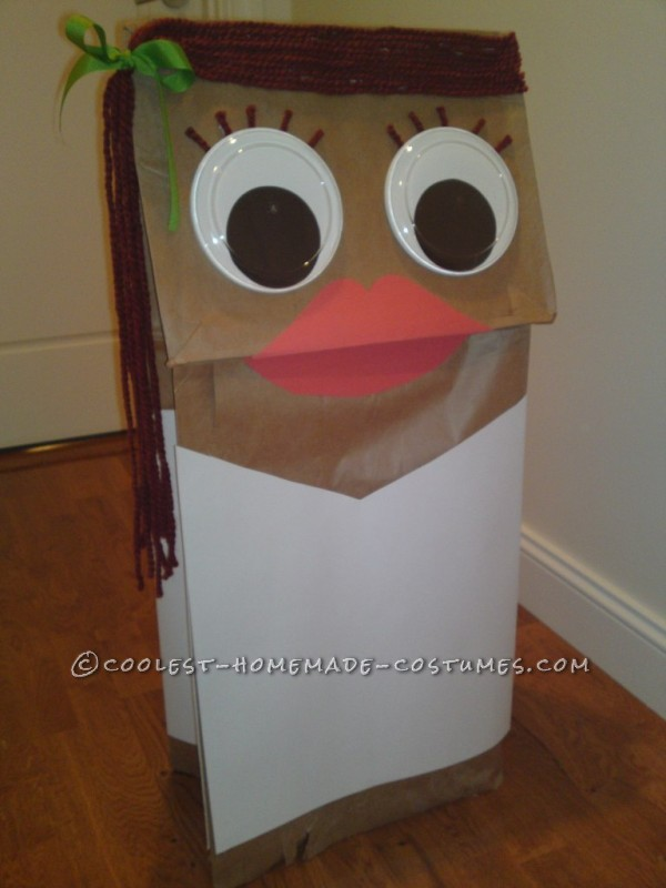 Original and Inexpensive School Girl Paper Bag Puppet Costume